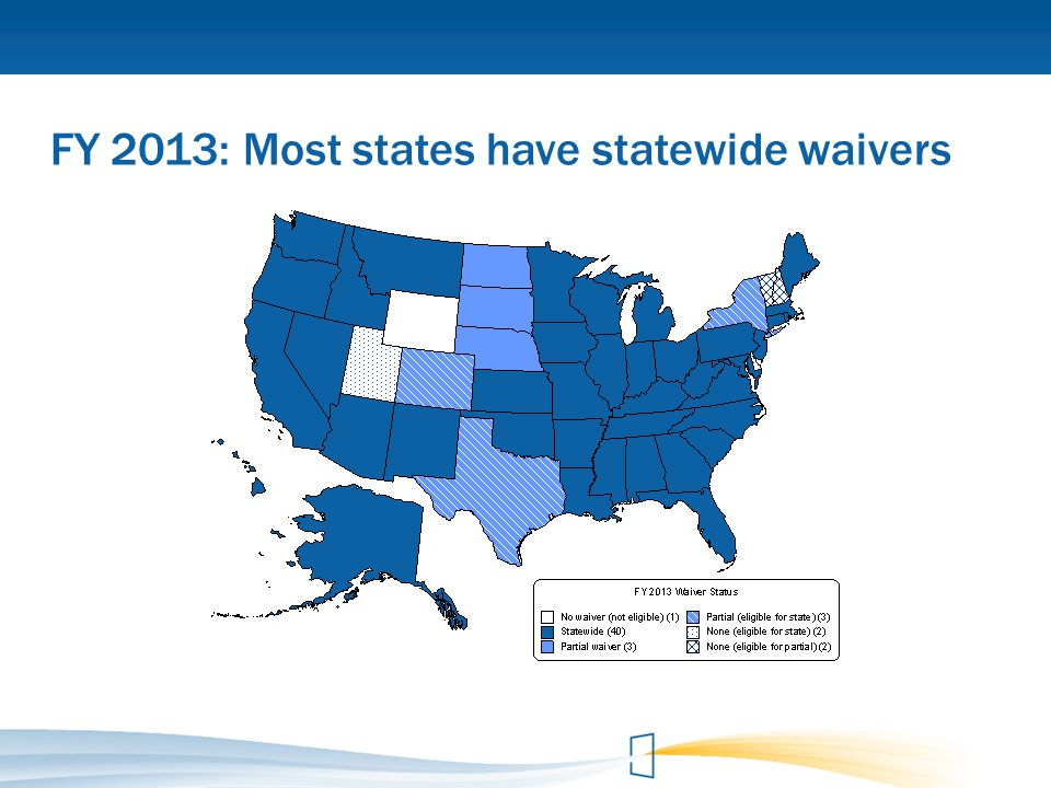 FY 2013: Most states have statewide waivers
