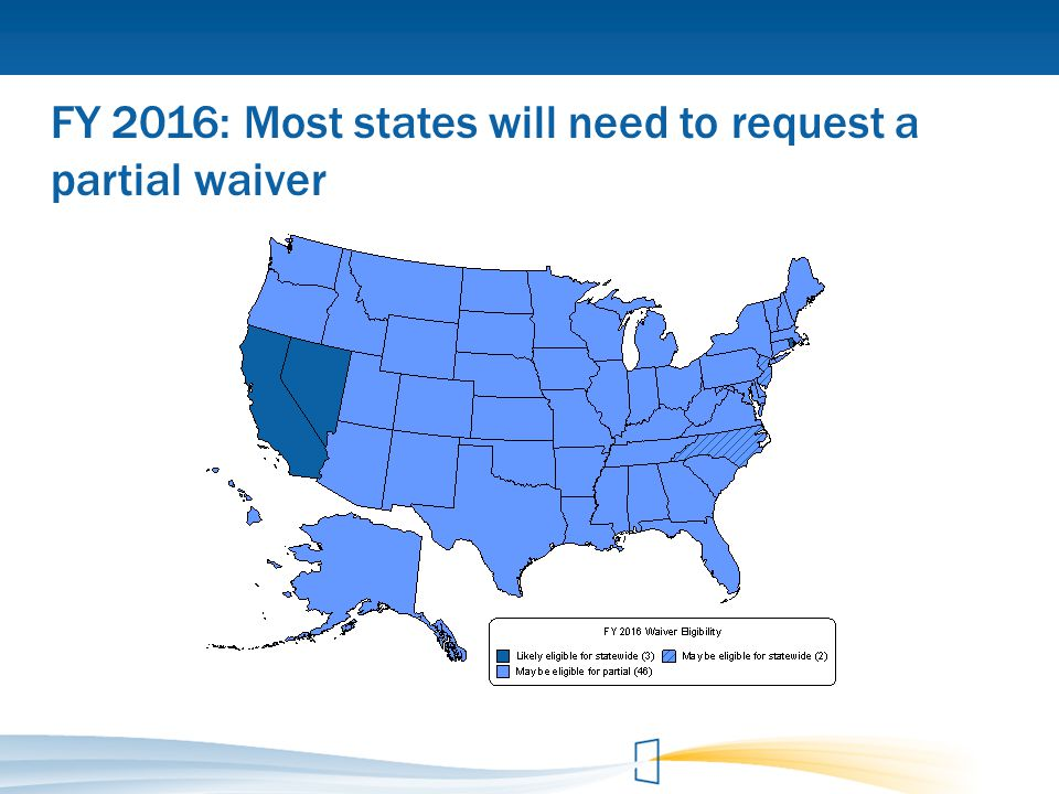 FY 2016: Most states will need to request a partial waiver