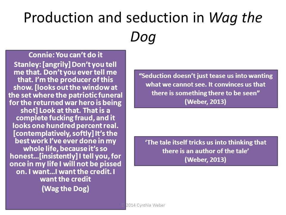 Production and seduction in Wag the Dog