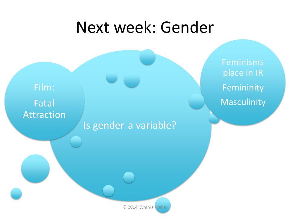 Next week: Gender Is gender a variable Film: Fatal Attraction