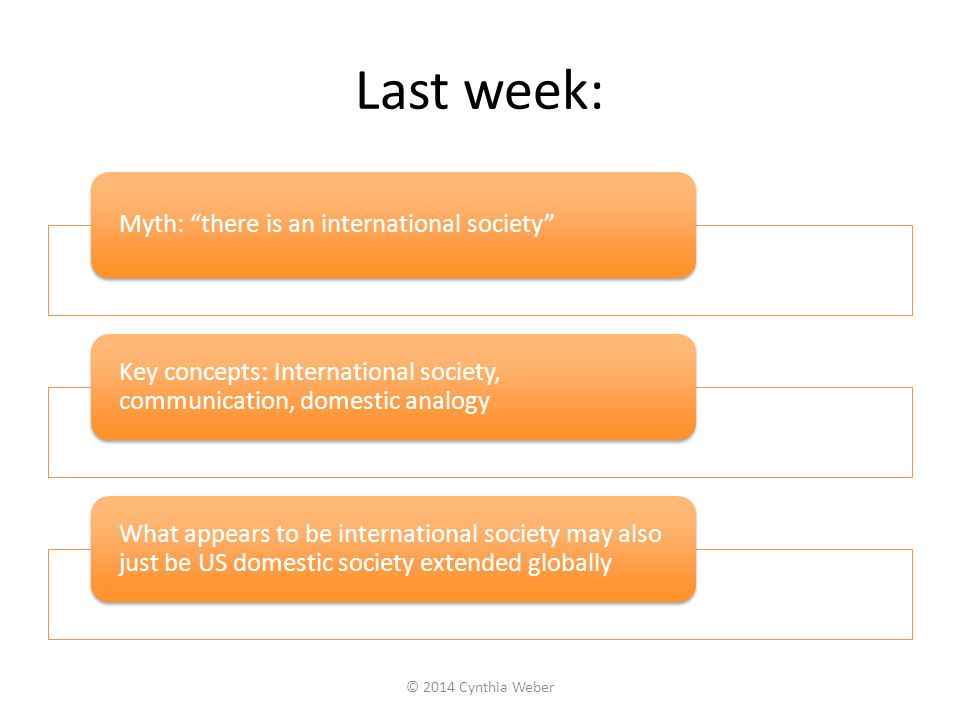 Last week: Myth: there is an international society