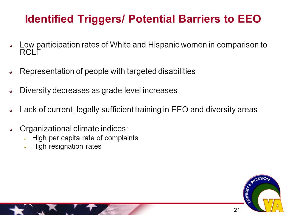Identified Triggers/ Potential Barriers to EEO