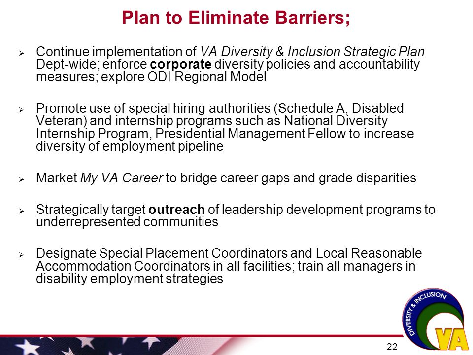 Plan to Eliminate Barriers;