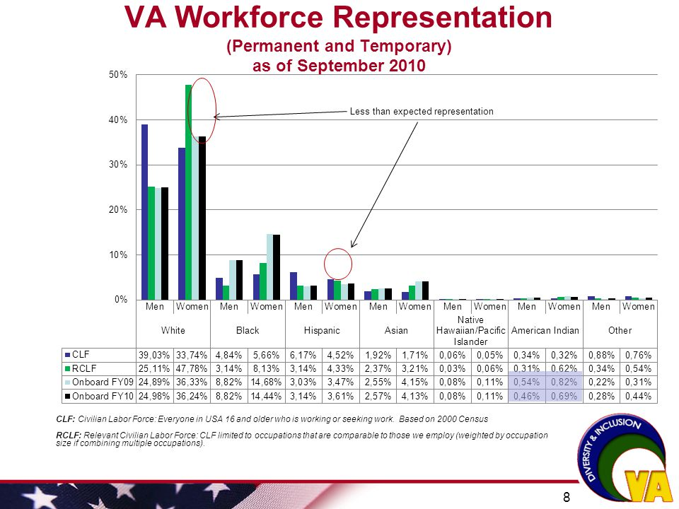 VA Workforce Representation (Permanent and Temporary) as of September 2010