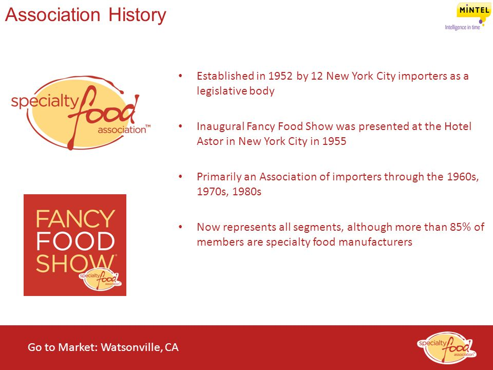 Association History Established in 1952 by 12 New York City importers as a legislative body.