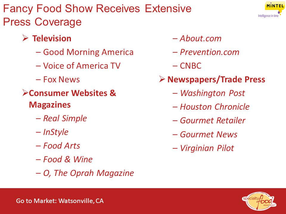 Fancy Food Show Receives Extensive Press Coverage