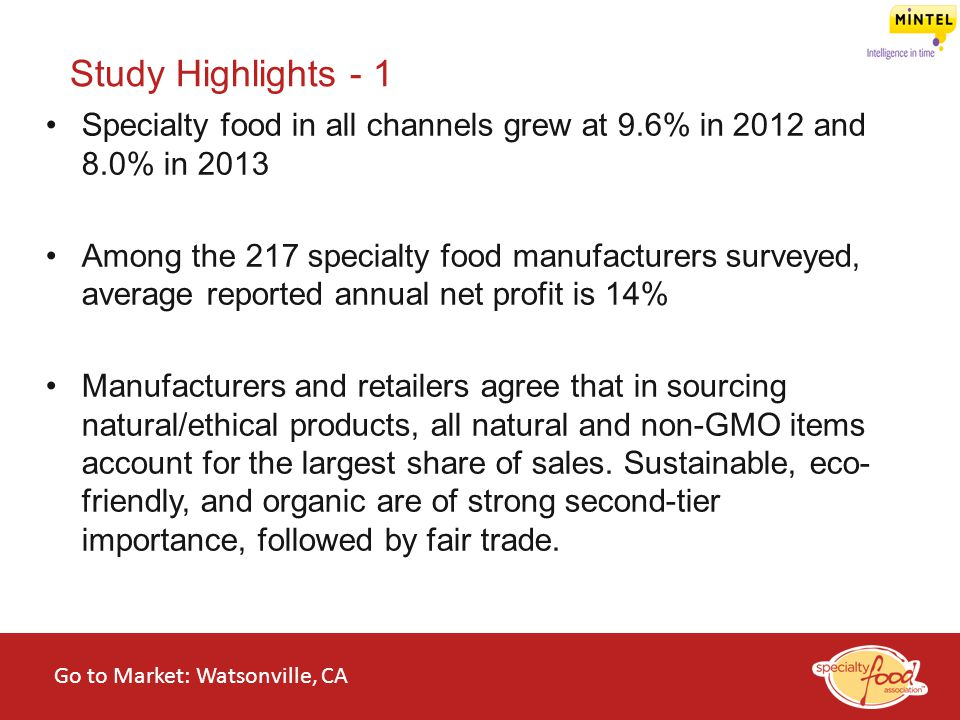 Study Highlights - 1 Specialty food in all channels grew at 9.6% in 2012 and 8.0% in 2013.