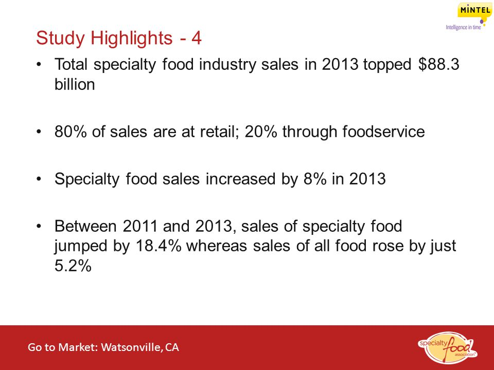 Study Highlights - 4 Total specialty food industry sales in 2013 topped $88.3 billion. 80% of sales are at retail; 20% through foodservice.