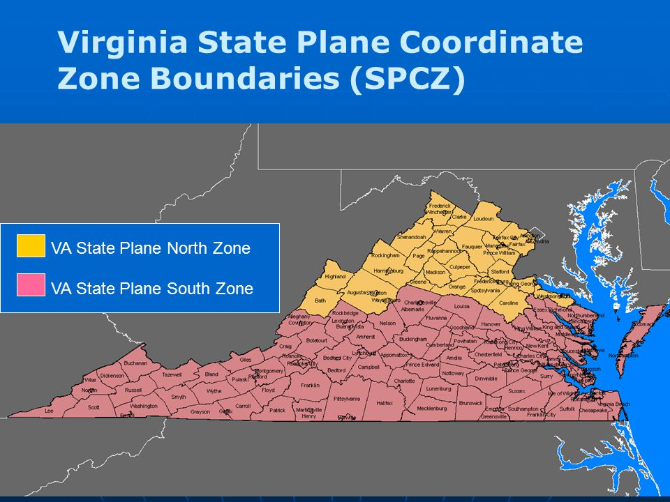 Virginia State Plane Coordinate Zone Boundaries (SPCZ)