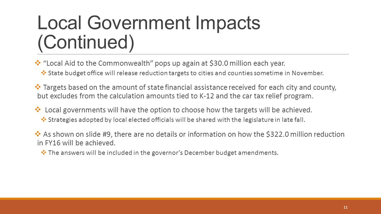 Local Government Impacts (Continued)