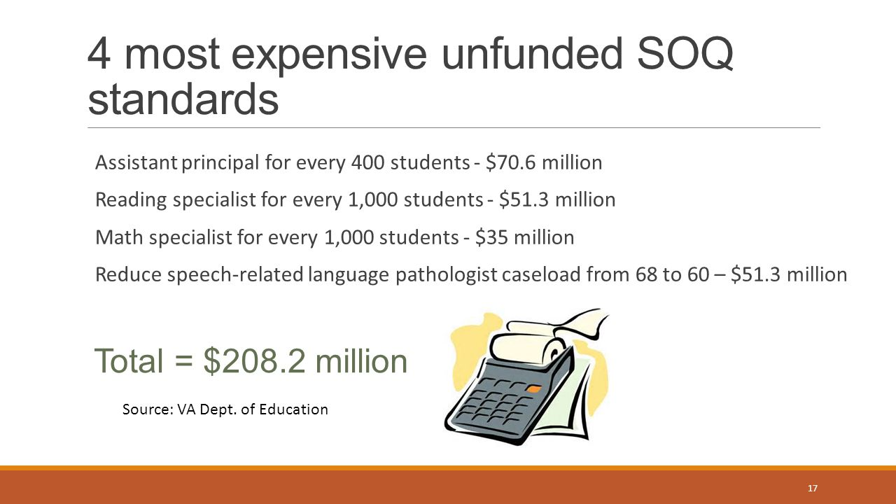 4 most expensive unfunded SOQ standards