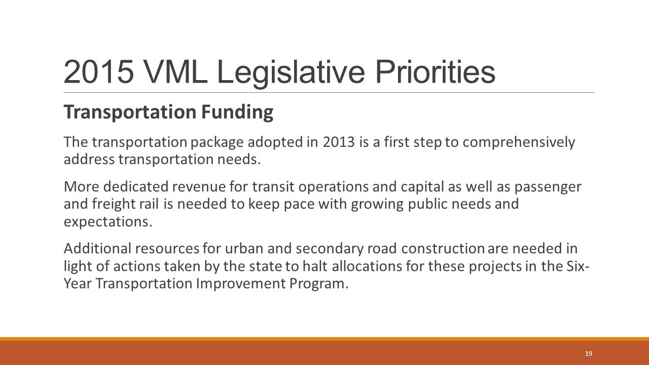 2015 VML Legislative Priorities