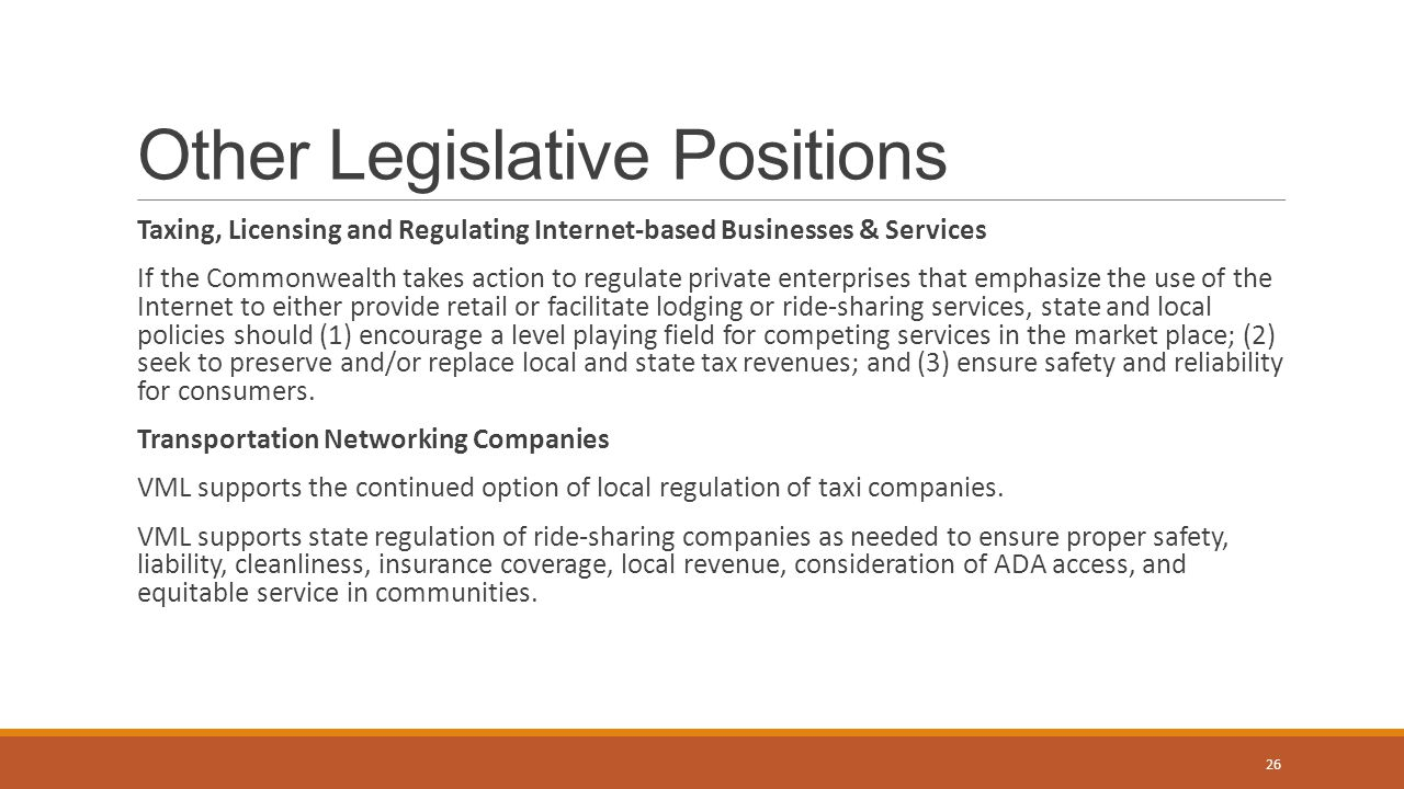 Other Legislative Positions