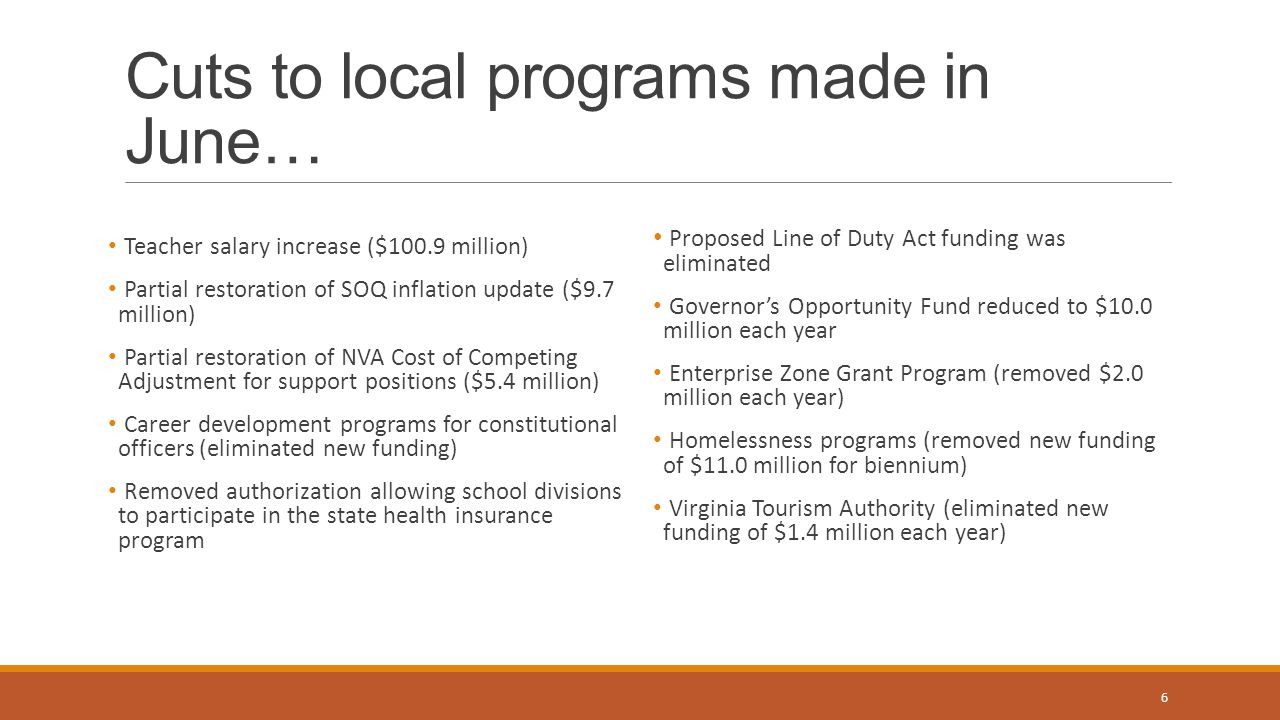 Cuts to local programs made in June…