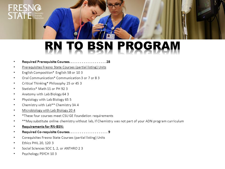 RN TO BSN PROGRAM Required Prerequisite Courses. . . . . . . . . . . . . . . . . . . . 28.