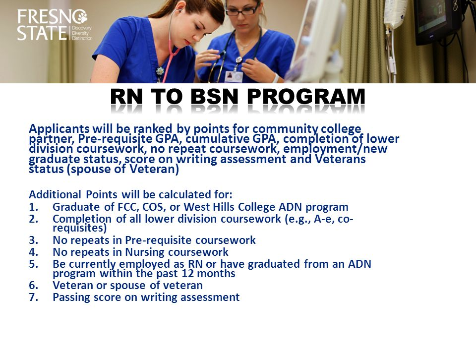 bsn coursework Admission criteriabaccalaureate degree from an accredited institution (applicants must hold the degree before beginning the accelerated bsn program) minimum.
