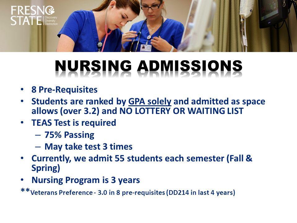 Nursing ADMISSIONS 8 Pre-Requisites