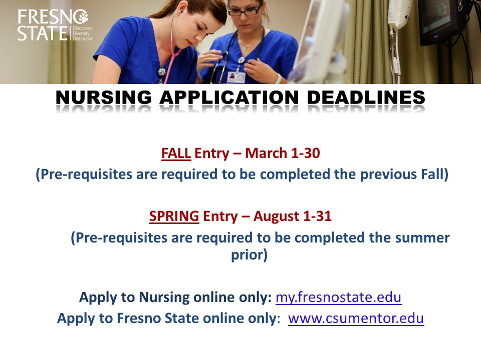 Nursing application deadlines