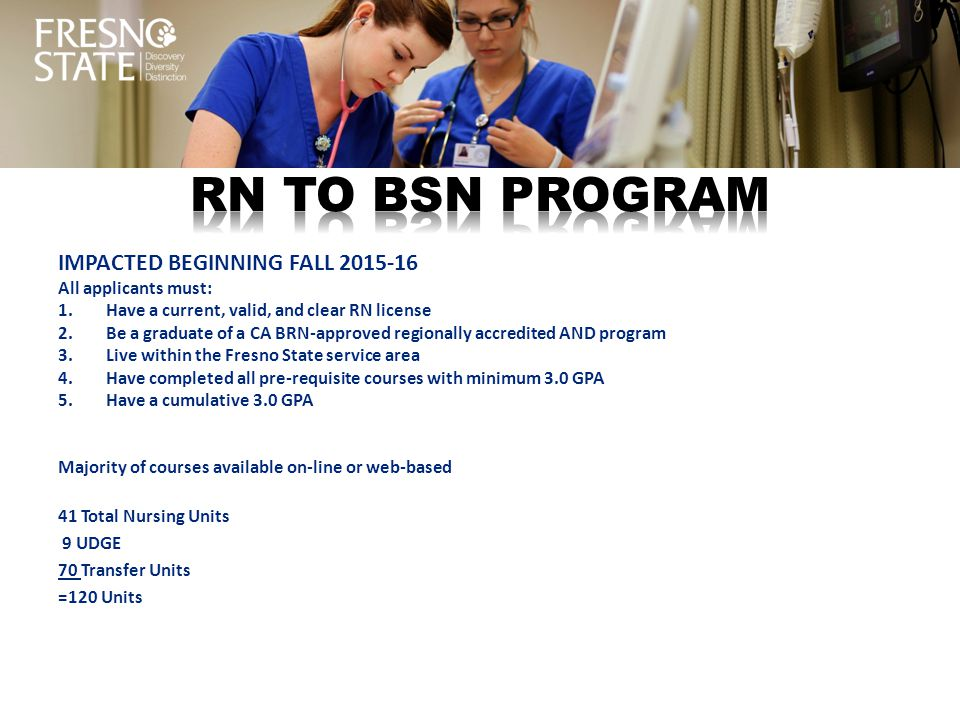 RN TO BSN PROGRAM IMPACTED BEGINNING FALL 2015-16 All applicants must: