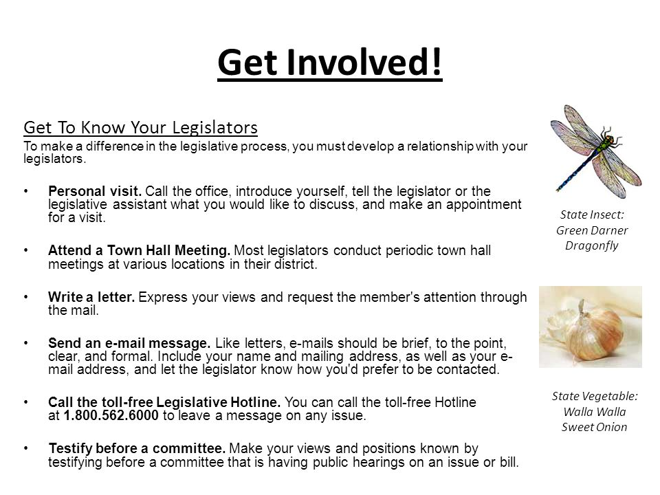 Get Involved! Get To Know Your Legislators
