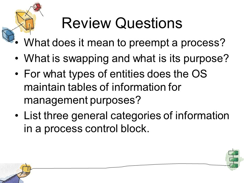 Review Questions What does it mean to preempt a process