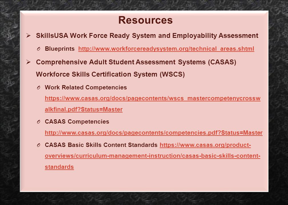 SkillsUSA Work Force Ready System and Employability Assessment