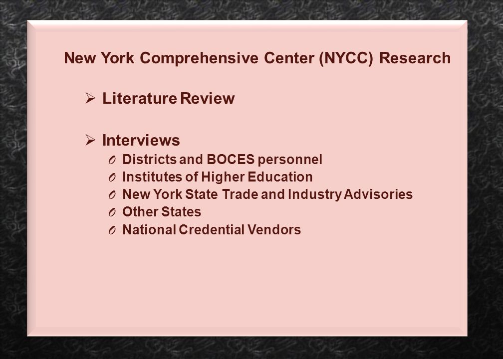 New York Comprehensive Center (NYCC) Research