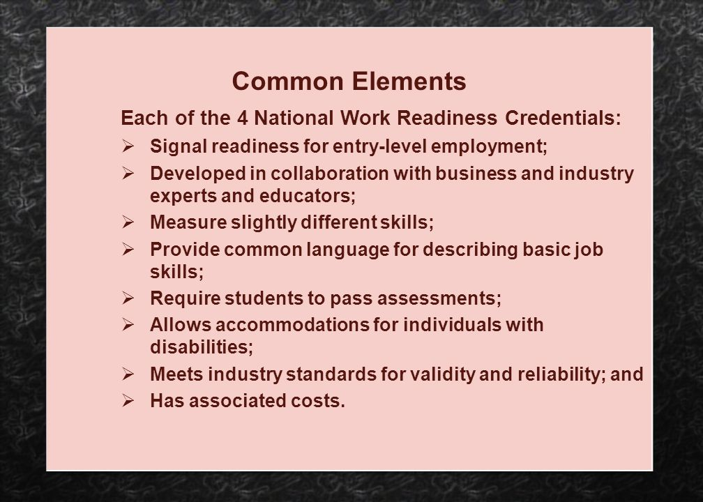 Common Elements Each of the 4 National Work Readiness Credentials: