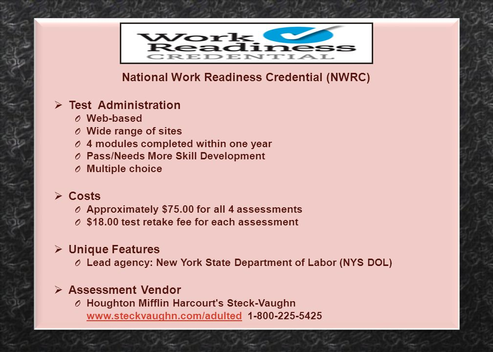 National Work Readiness Credential (NWRC)
