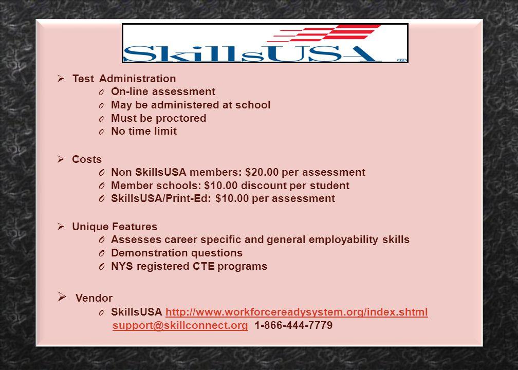 Vendor Test Administration On-line assessment