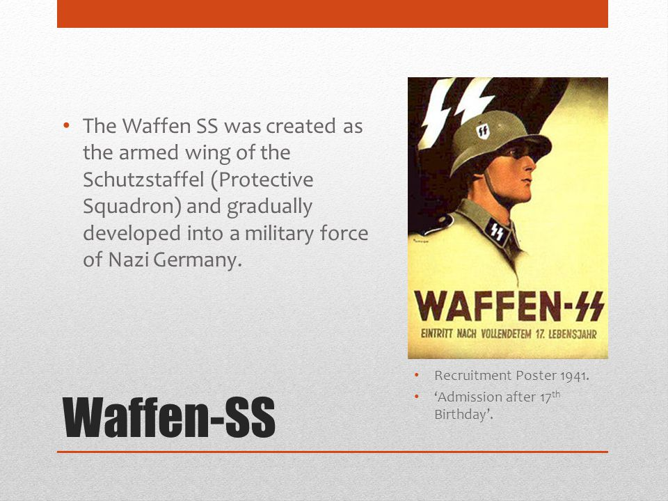 The Waffen SS was created as the armed wing of the Schutzstaffel (Protective Squadron) and gradually developed into a military force of Nazi Germany.