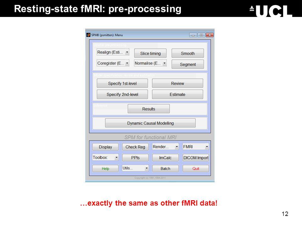 Resting-state fMRI: pre-processing