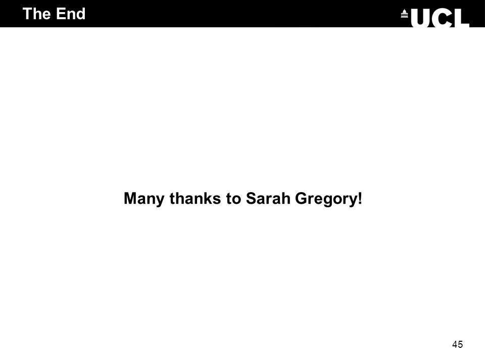 Many thanks to Sarah Gregory!