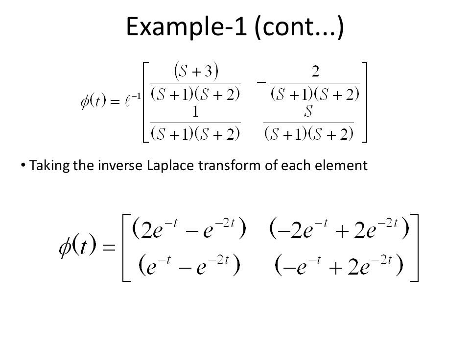 Example-1 (cont...) Taking the inverse Laplace transform of each element