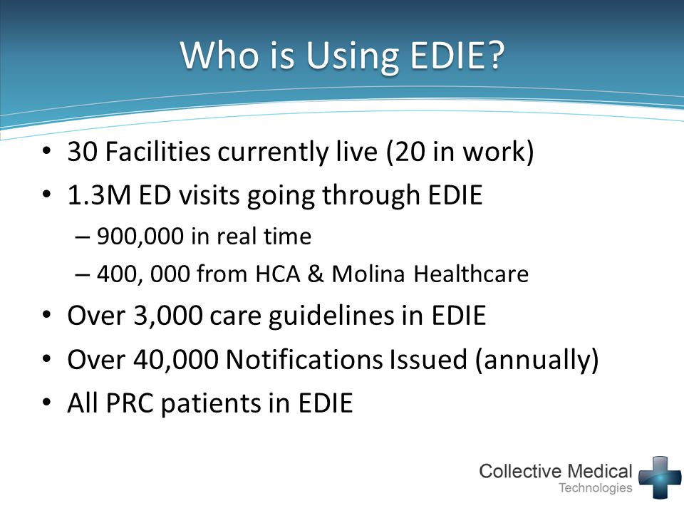 Who is Using EDIE 30 Facilities currently live (20 in work)