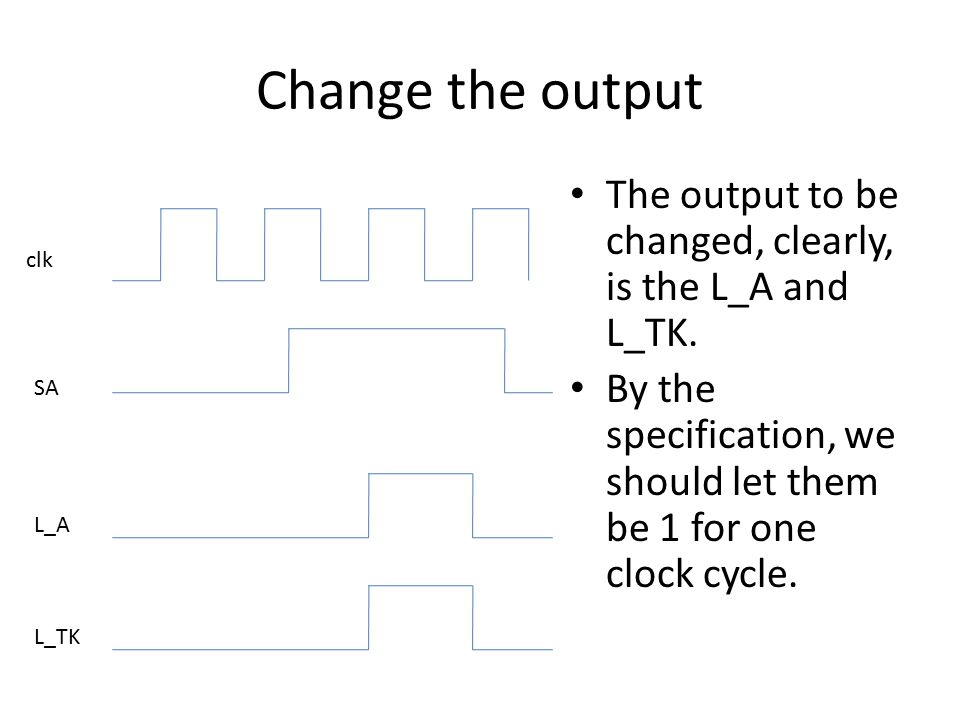 Change the output The output to be changed, clearly, is the L_A and L_TK. By the specification, we should let them be 1 for one clock cycle.
