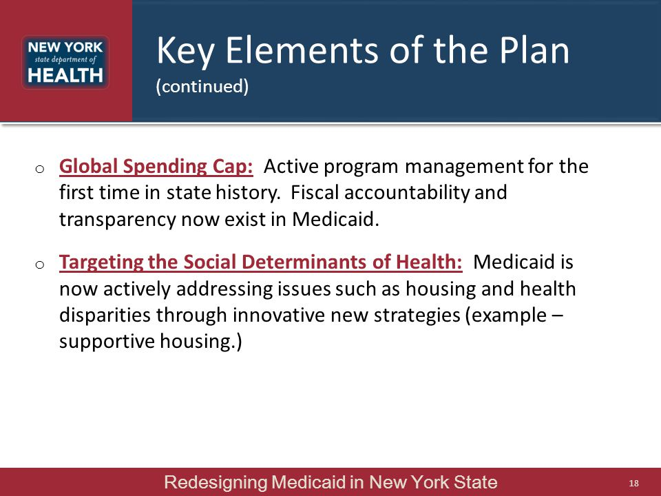 Key Elements of the Plan (continued)