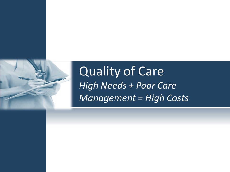 Quality of Care High Needs + Poor Care Management = High Costs