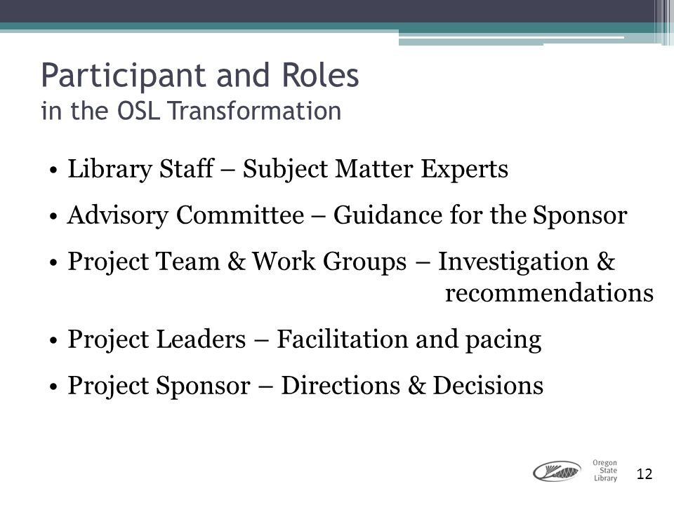 Participant and Roles in the OSL Transformation