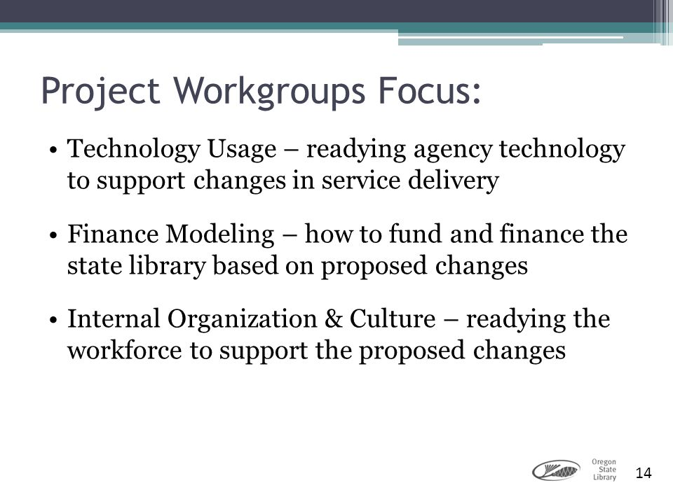 Project Workgroups Focus: