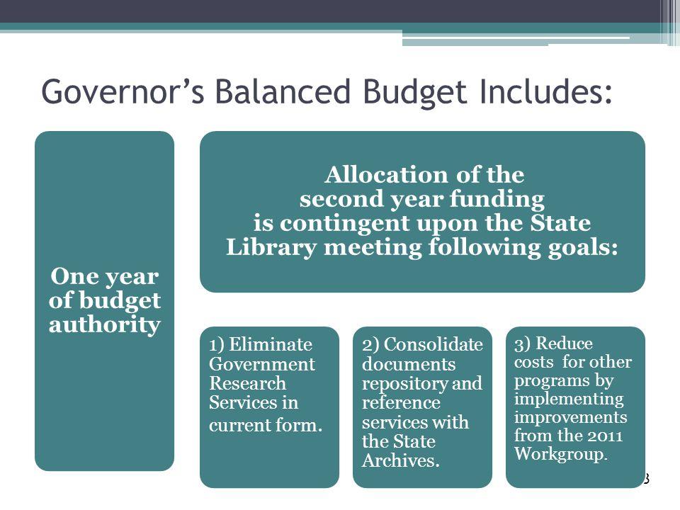 Governor's Balanced Budget Includes: