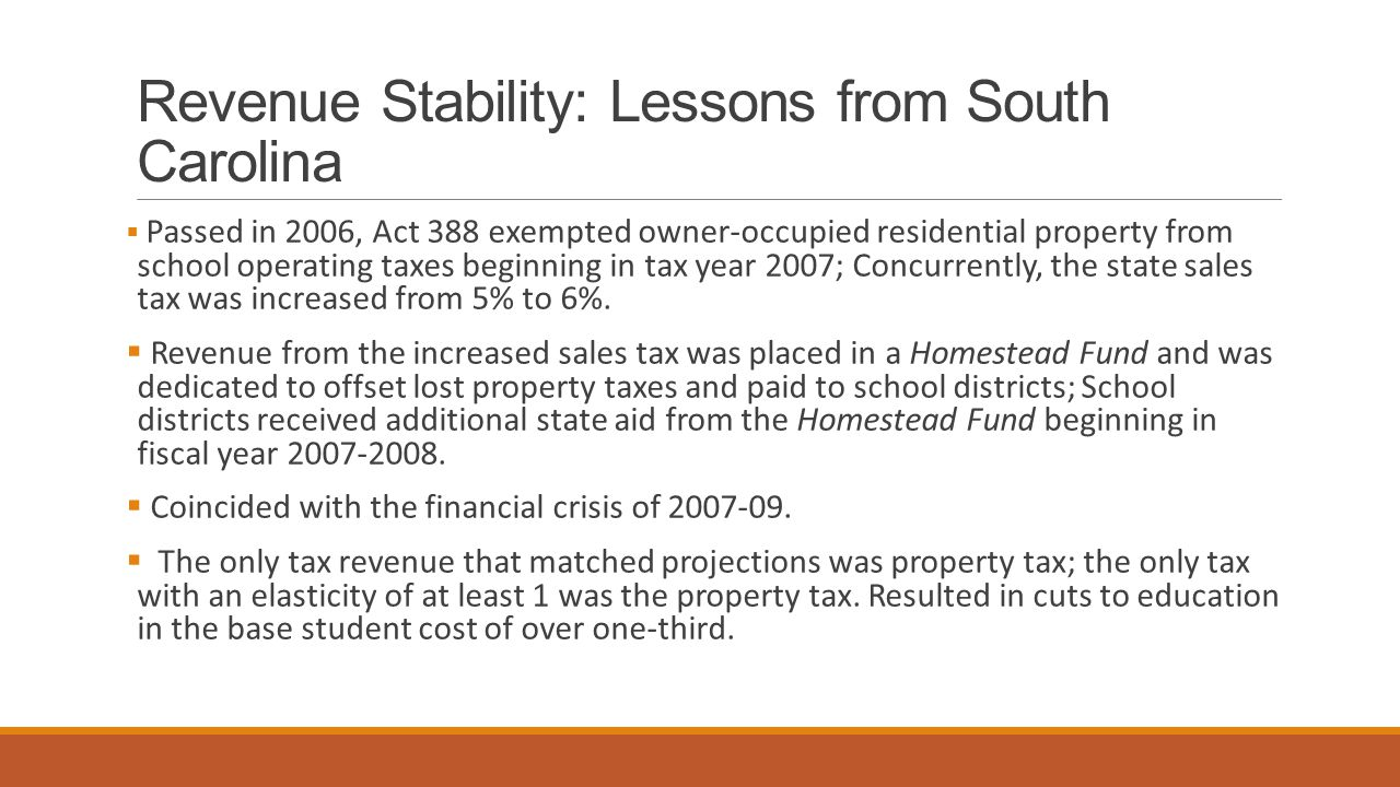 Revenue Stability: Lessons from South Carolina