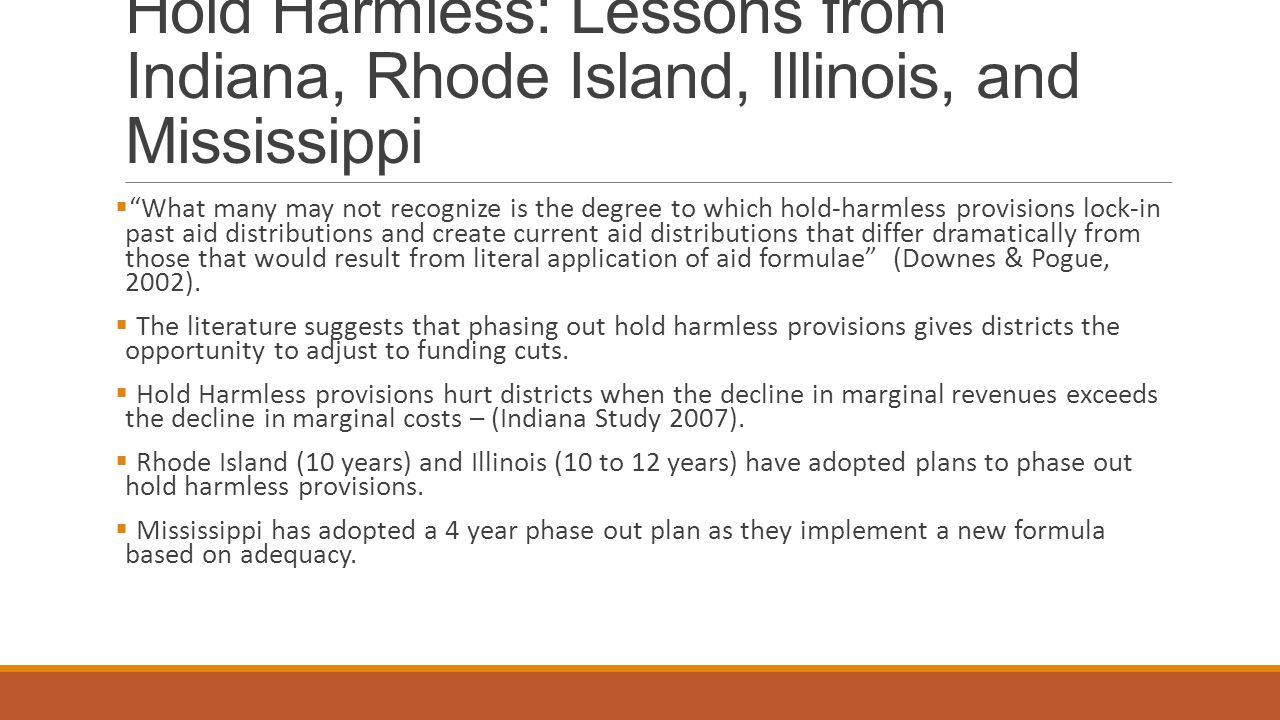 Hold Harmless: Lessons from Indiana, Rhode Island, Illinois, and Mississippi