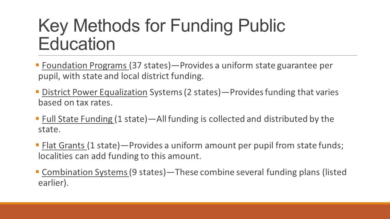 Key Methods for Funding Public Education