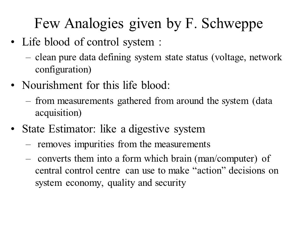 Few Analogies given by F. Schweppe