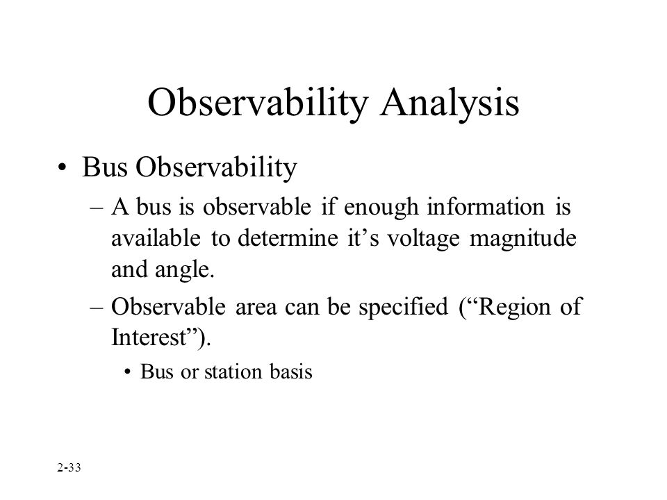 Observability Analysis