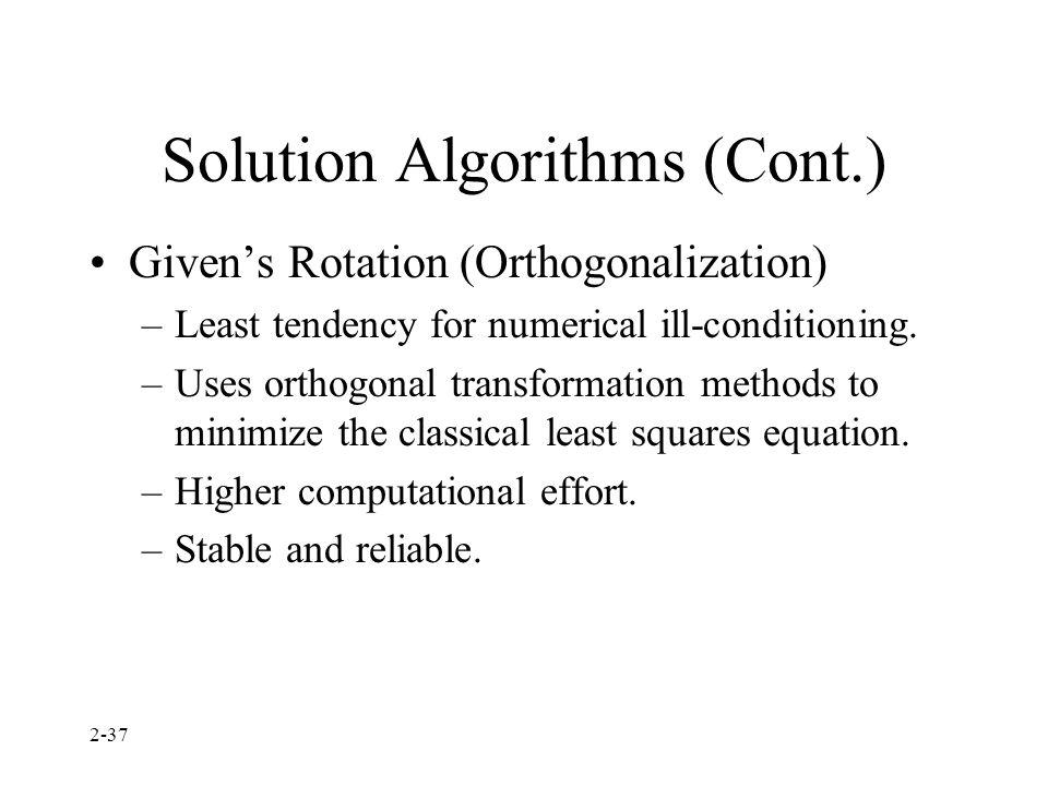 Solution Algorithms (Cont.)