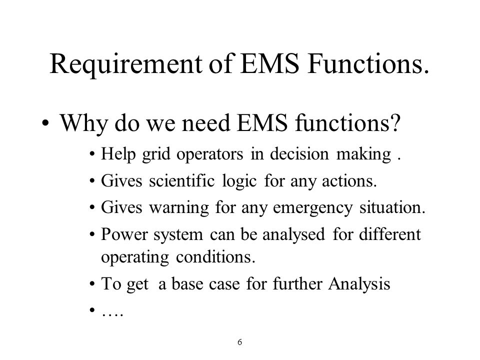 Requirement of EMS Functions.