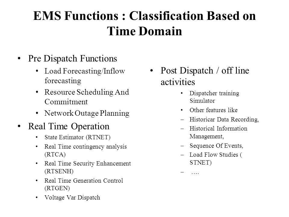 EMS Functions : Classification Based on Time Domain