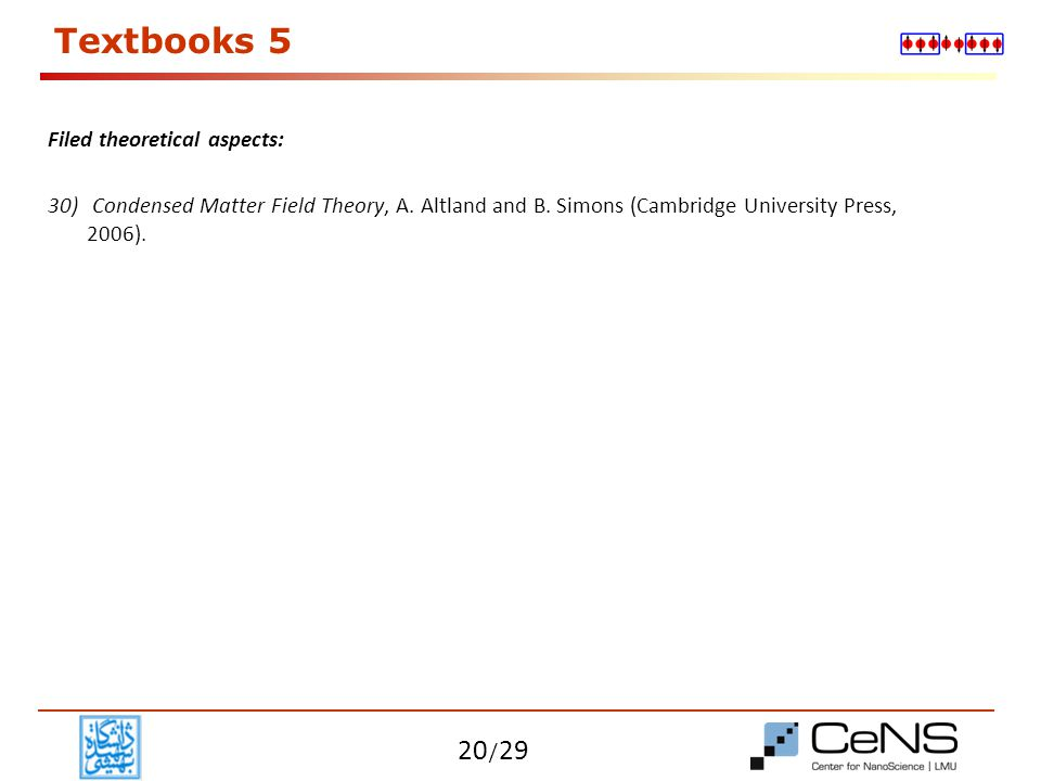 Textbooks 5 Filed theoretical aspects: